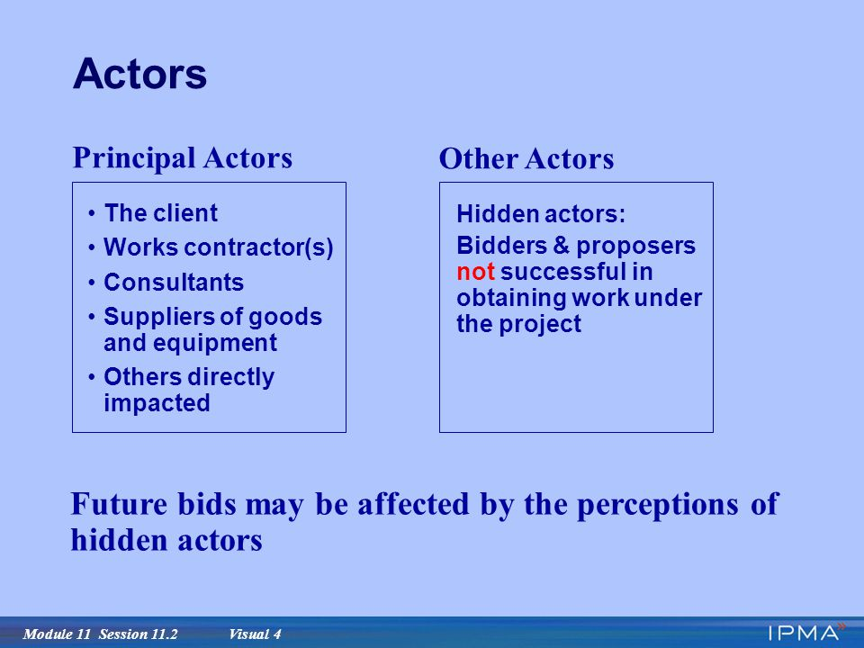 Module 11 Session 11.2 Visual 4 Actors Principal Actors The client Works contractor(s) Consultants Suppliers of goods and equipment Others directly impacted Other Actors Hidden actors: Bidders & proposers not successful in obtaining work under the project Future bids may be affected by the perceptions of hidden actors