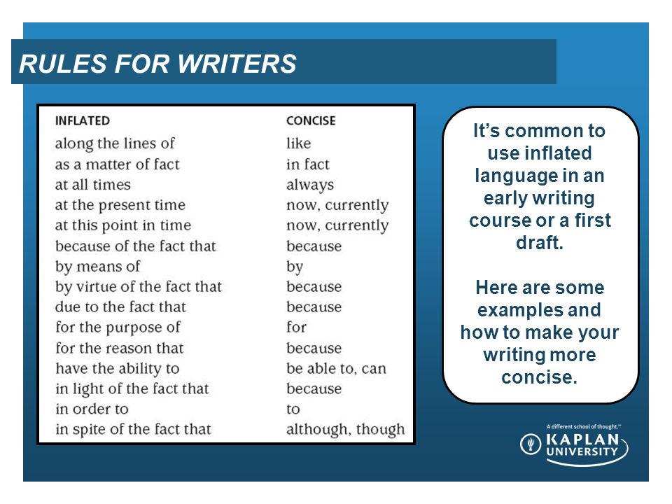 RULES FOR WRITERS It's common to use inflated language in an early writing course or a first draft. Here are some examples and how to make your writin
