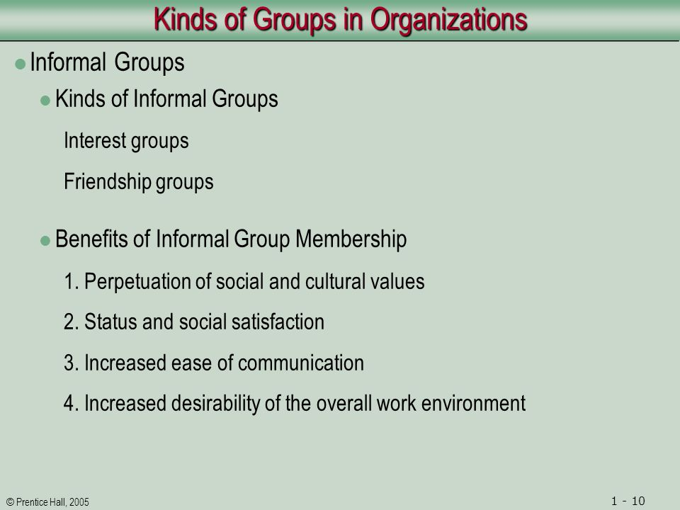 © Prentice Hall, 2005 1 - 10 Kinds of Groups in Organizations Informal Groups Kinds of Informal Groups Interest groups Friendship groups Benefits of Informal Group Membership 1.