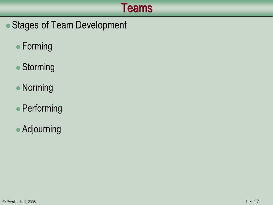© Prentice Hall, 2005 1 - 17TeamsTeams Stages of Team Development Forming Storming Norming Performing Adjourning