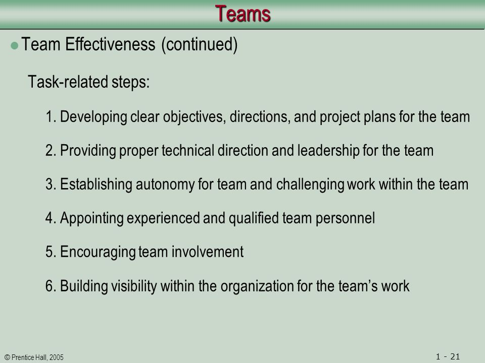 © Prentice Hall, 2005 1 - 21TeamsTeams Team Effectiveness (continued) Task-related steps: 1.