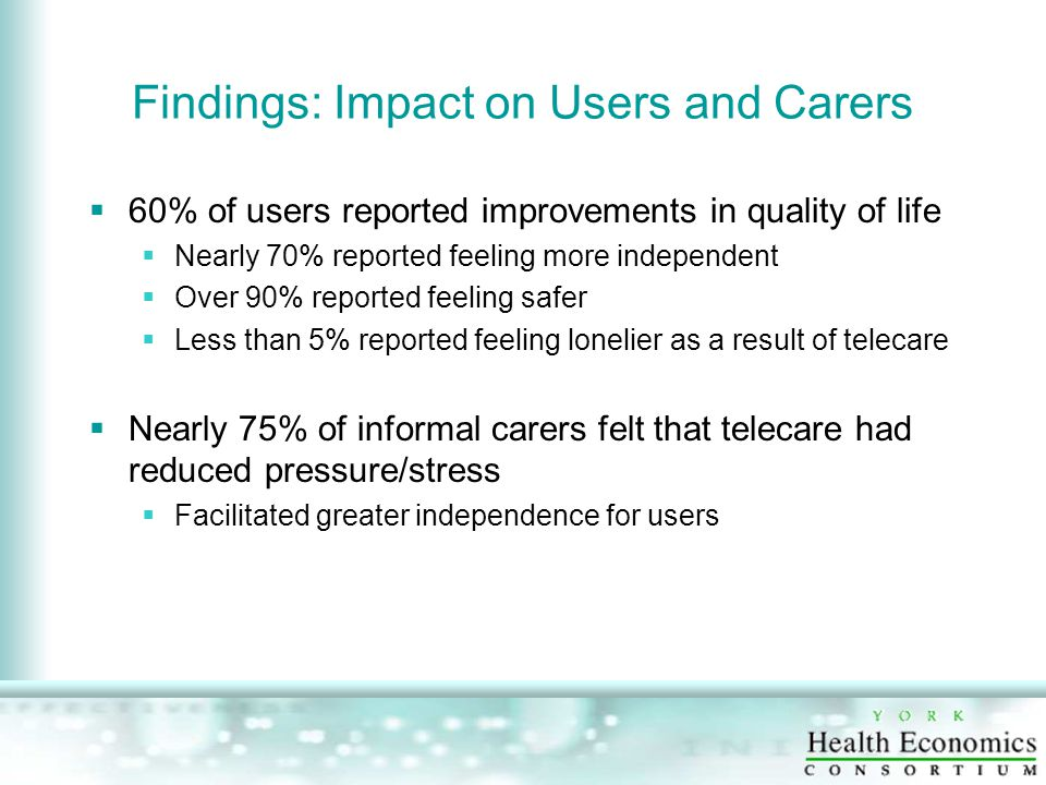Findings: Impact on Users and Carers  60% of users reported improvements in quality of life  Nearly 70% reported feeling more independent  Over 90% reported feeling safer  Less than 5% reported feeling lonelier as a result of telecare  Nearly 75% of informal carers felt that telecare had reduced pressure/stress  Facilitated greater independence for users