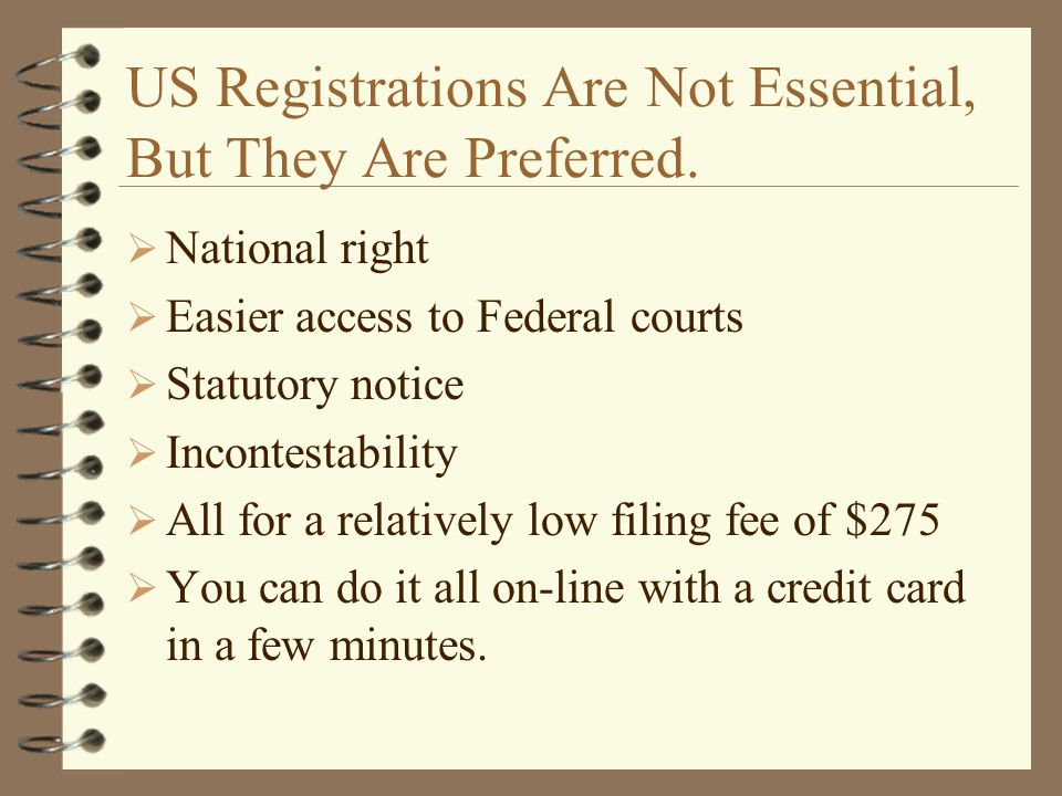 US Registrations Are Not Essential, But They Are Preferred.