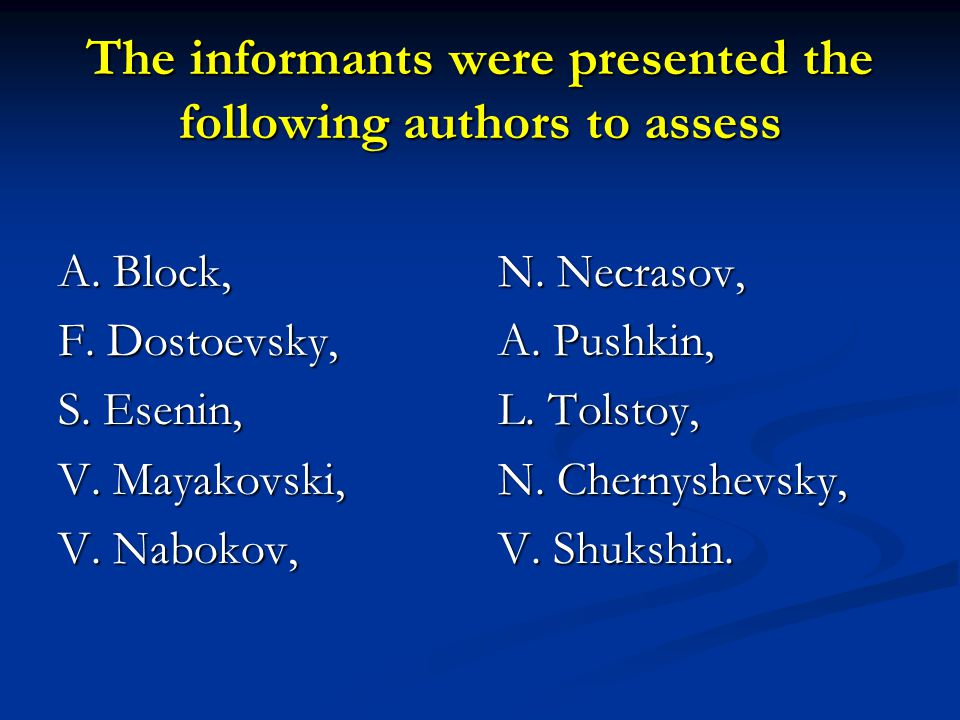 The informants were presented the following authors to assess A.