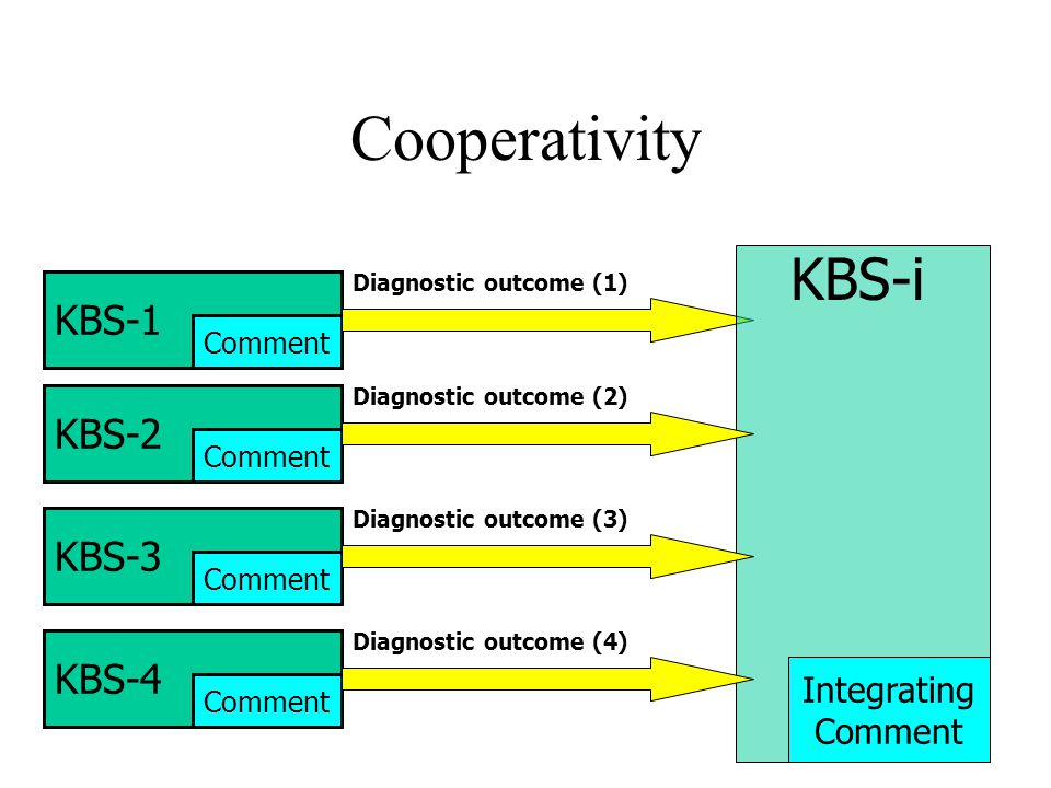 Cooperativity KBS-1 Comment Diagnostic outcome (1) KBS-i Integrating Comment KBS-2 Comment Diagnostic outcome (2) KBS-4 Comment Diagnostic outcome (4) KBS-3 Comment Diagnostic outcome (3)