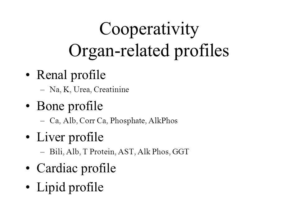 Cooperativity Organ-related profiles Renal profile –Na, K, Urea, Creatinine Bone profile –Ca, Alb, Corr Ca, Phosphate, AlkPhos Liver profile –Bili, Alb, T Protein, AST, Alk Phos, GGT Cardiac profile Lipid profile
