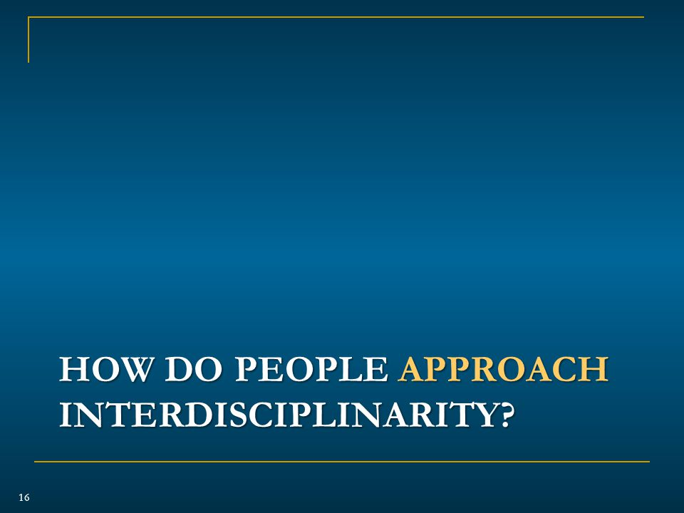 HOW DO PEOPLE APPROACH INTERDISCIPLINARITY 16