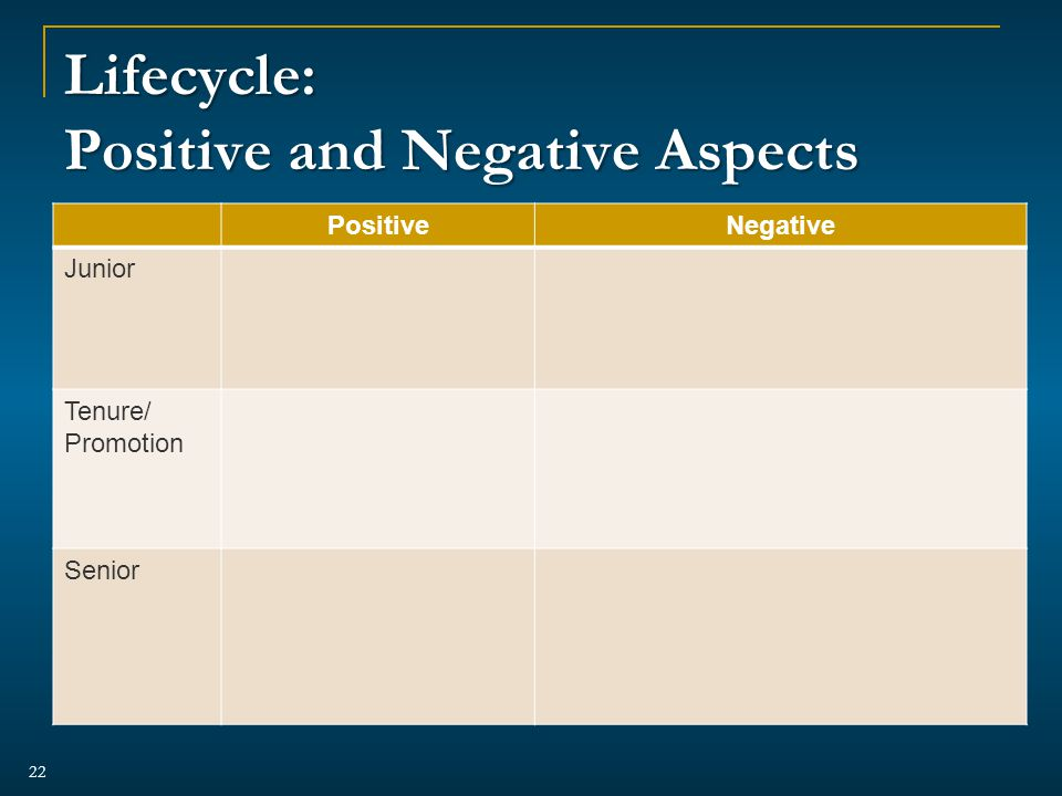 Lifecycle: Positive and Negative Aspects PositiveNegative Junior Tenure/ Promotion Senior 22