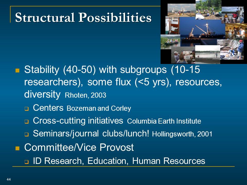 Structural Possibilities Stability (40-50) with subgroups (10-15 researchers), some flux (<5 yrs), resources, diversity Rhoten, 2003  Centers Bozeman and Corley  Cross-cutting initiatives Columbia Earth Institute  Seminars/journal clubs/lunch.