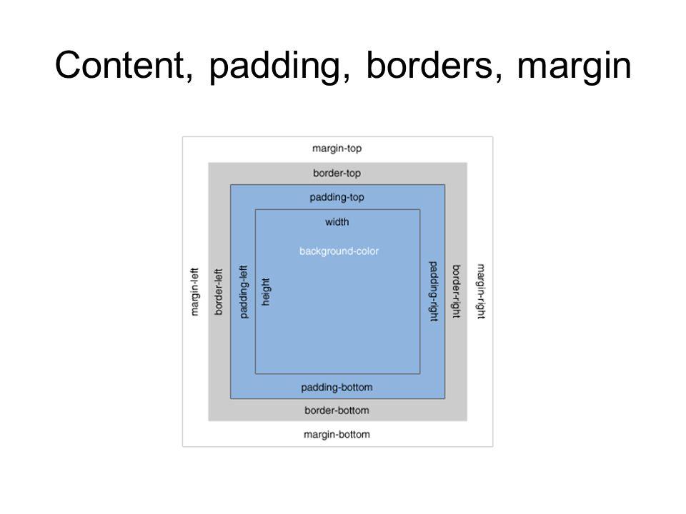 Content, padding, borders, margin