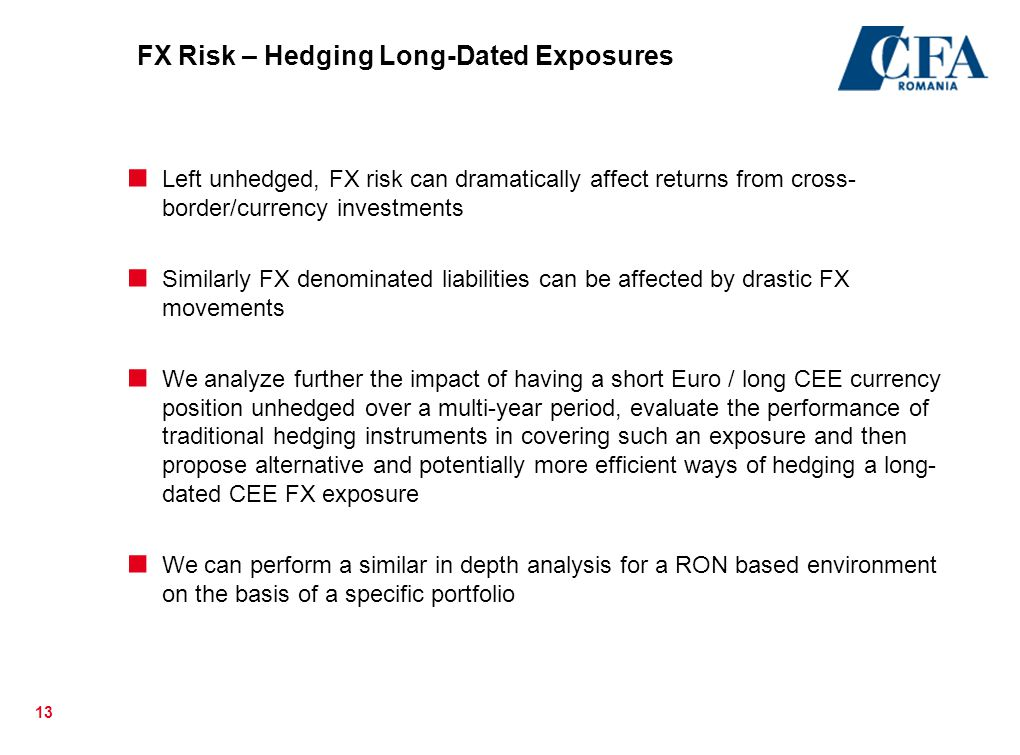 13 FX Risk – Hedging Long-Dated Exposures  Left unhedged, FX risk can dramatically affect returns from cross- border/currency investments  Similarly