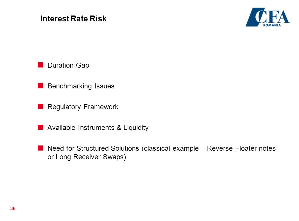 36 Interest Rate Risk  Duration Gap  Benchmarking Issues  Regulatory Framework  Available Instruments & Liquidity  Need for Structured Solutions