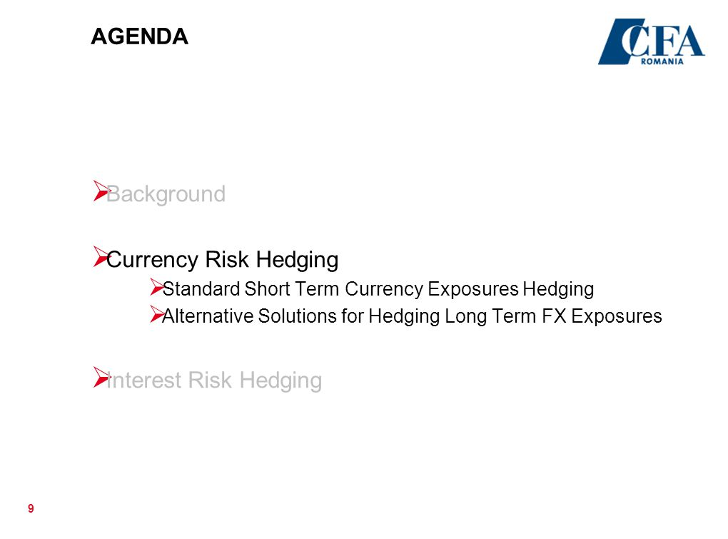 30 Rolling versus Outright Forward Summary Hedge Effectiveness: each of the two strategies, offer full protection against adverse FX movements Cash flow effects: When hedging with a rolling forward, the hedger only pays a cash settlement amount if the currency they are selling forward has strengthened versus the contracted forward rate; the hedger will receive cash if that currency has weakened Risks: It is actually the tighter forward points under the rolling hedge that make that hedge cheaper than having locked into high forward points for the full tenor at the outset.