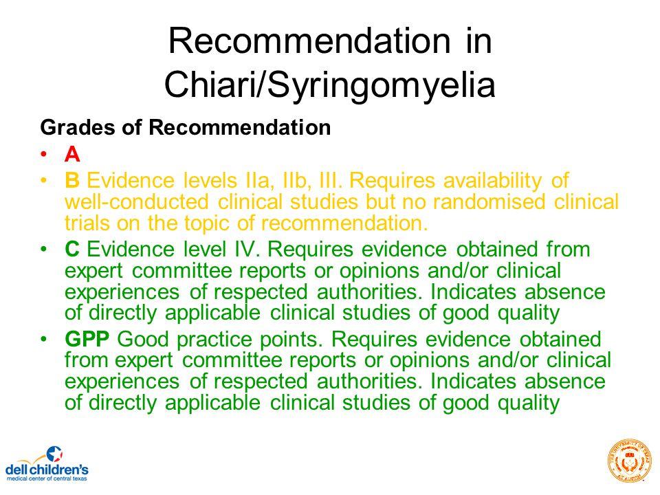 Recommendation in Chiari/Syringomyelia Grades of Recommendation A B Evidence levels IIa, IIb, III.