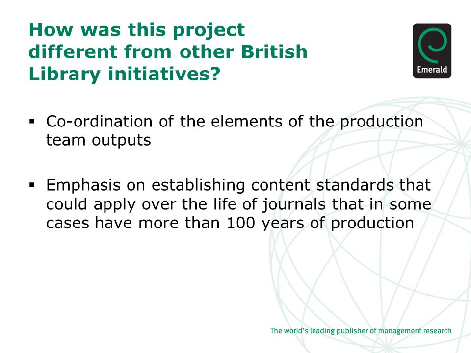 How was this project different from other British Library initiatives.