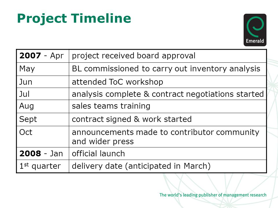 Project Timeline 2007 - Aprproject received board approval MayBL commissioned to carry out inventory analysis Junattended ToC workshop Julanalysis complete & contract negotiations started Augsales teams training Septcontract signed & work started Octannouncements made to contributor community and wider press 2008 - Janofficial launch 1 st quarterdelivery date (anticipated in March)