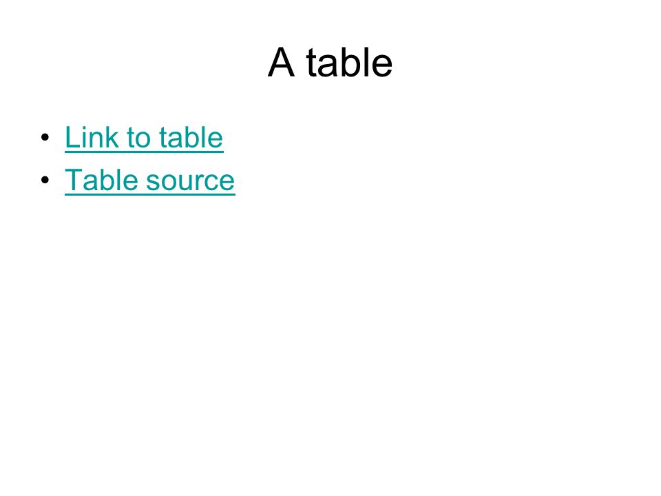 A table Link to table Table source