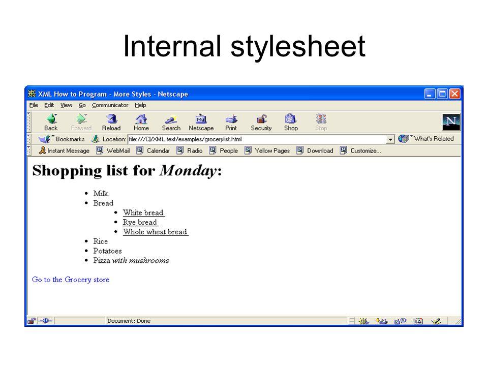 Internal stylesheet