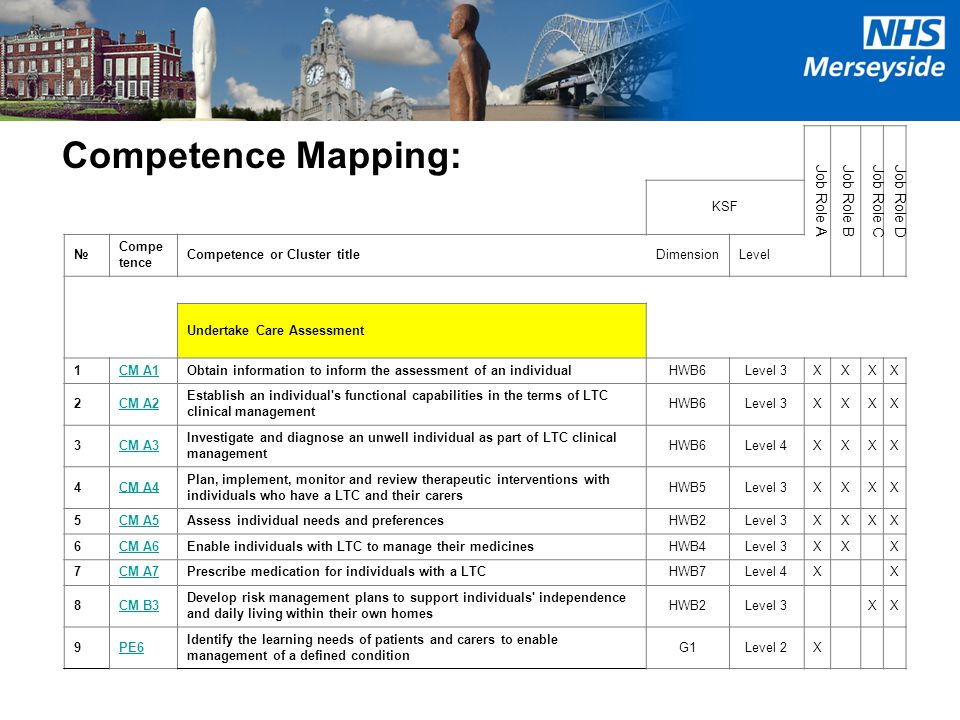 Competence Mapping: Job Role AJob Role B Job Role CJob Role D KSF № Compe tence Competence or Cluster titleDimensionLevel Undertake Care Assessment 1C