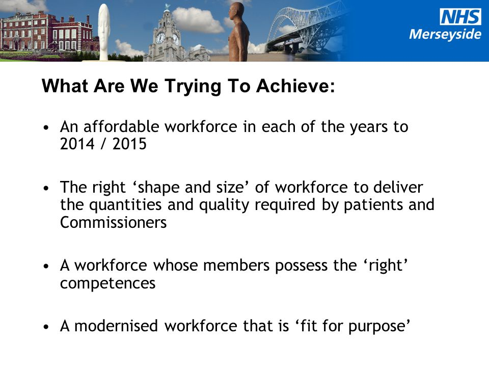 What Are We Trying To Achieve: An affordable workforce in each of the years to 2014 / 2015 The right 'shape and size' of workforce to deliver the quantities and quality required by patients and Commissioners A workforce whose members possess the 'right' competences A modernised workforce that is 'fit for purpose'