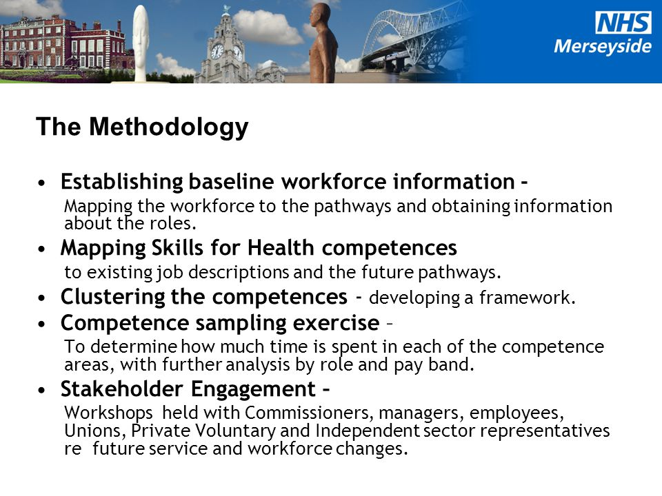 The Methodology Establishing baseline workforce information - Mapping the workforce to the pathways and obtaining information about the roles. Mapping