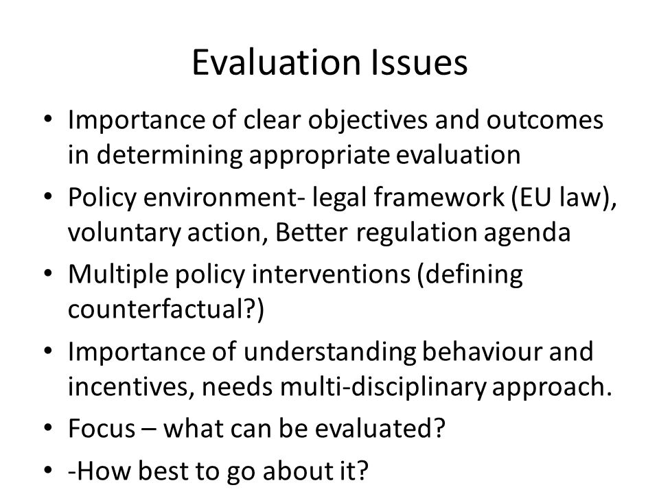 Evaluation Programme work Looking at Strategy and components Role of Evaluation Advisory Studies- looking at specific policy areas to help clarify issues and how best to evaluate.