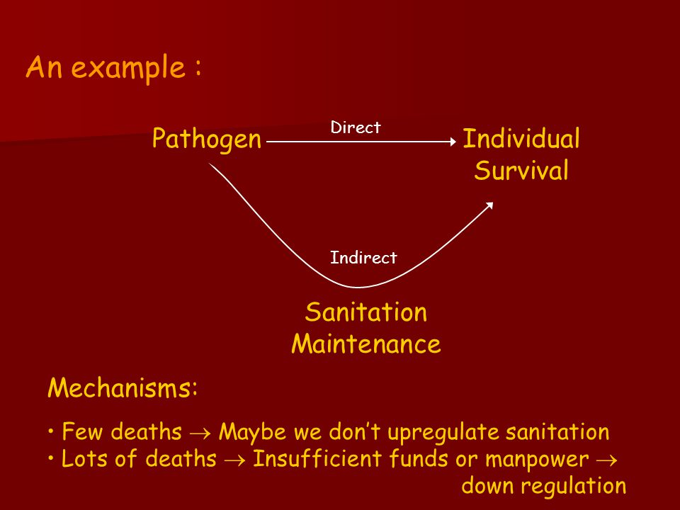 Direct Sanitation Maintenance Individual Survival Pathogen Indirect An example : Mechanisms: Few deaths  Maybe we don't upregulate sanitation Lots of deaths  Insufficient funds or manpower  down regulation