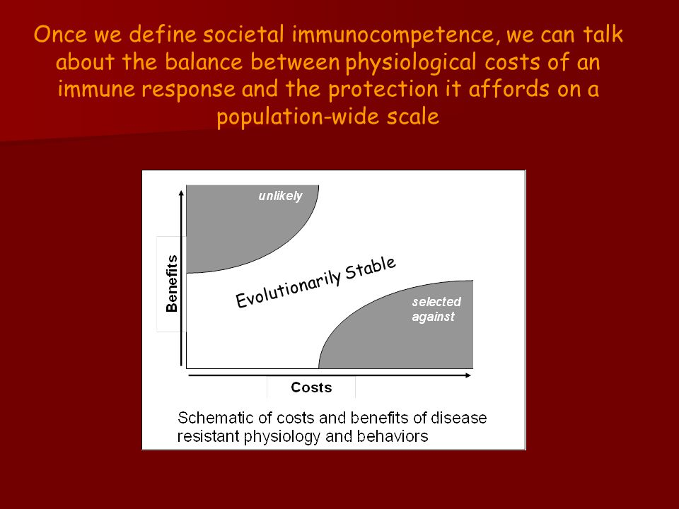 Once we define societal immunocompetence, we can talk about the balance between physiological costs of an immune response and the protection it affords on a population-wide scale Evolutionarily Stable