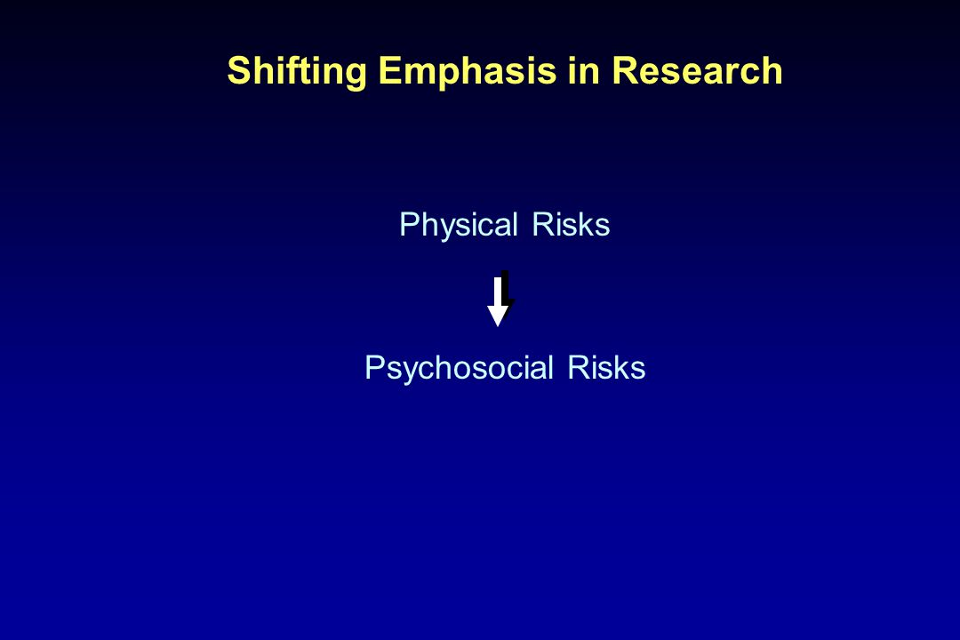 Shifting Emphasis in Research Physical Risks Psychosocial Risks