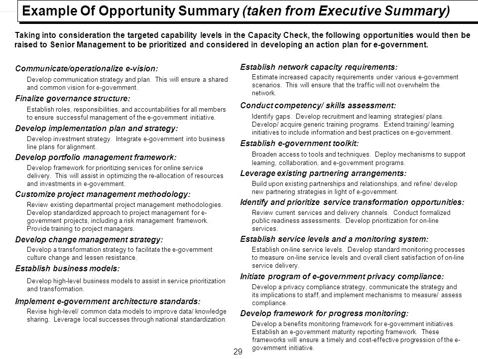 29 Example Of Opportunity Summary (taken from Executive Summary) Communicate/operationalize e-vision: Develop communication strategy and plan. This wi