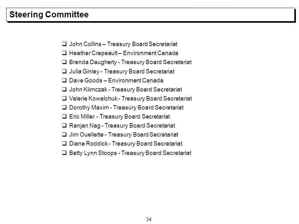 34 Steering Committee  John Collins – Treasury Board Secretariat  Heather Crepeault – Environment Canada  Brenda Daugherty - Treasury Board Secreta