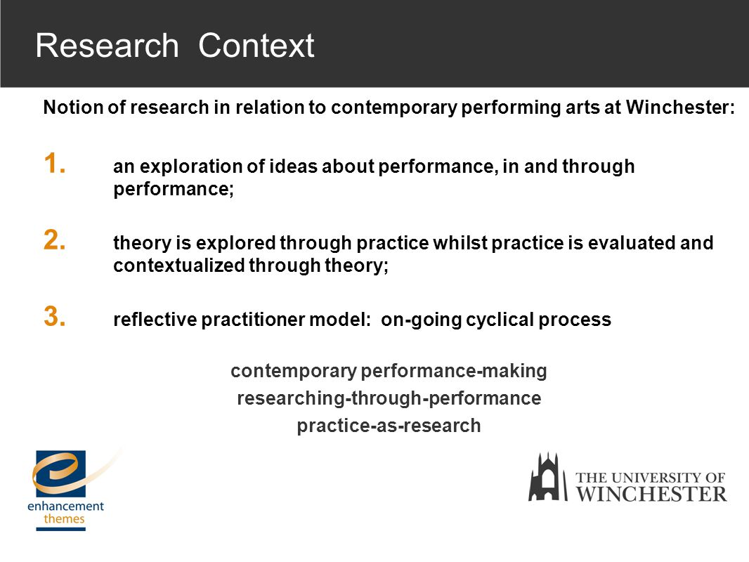 Notion of research in relation to contemporary performing arts at Winchester: 1.