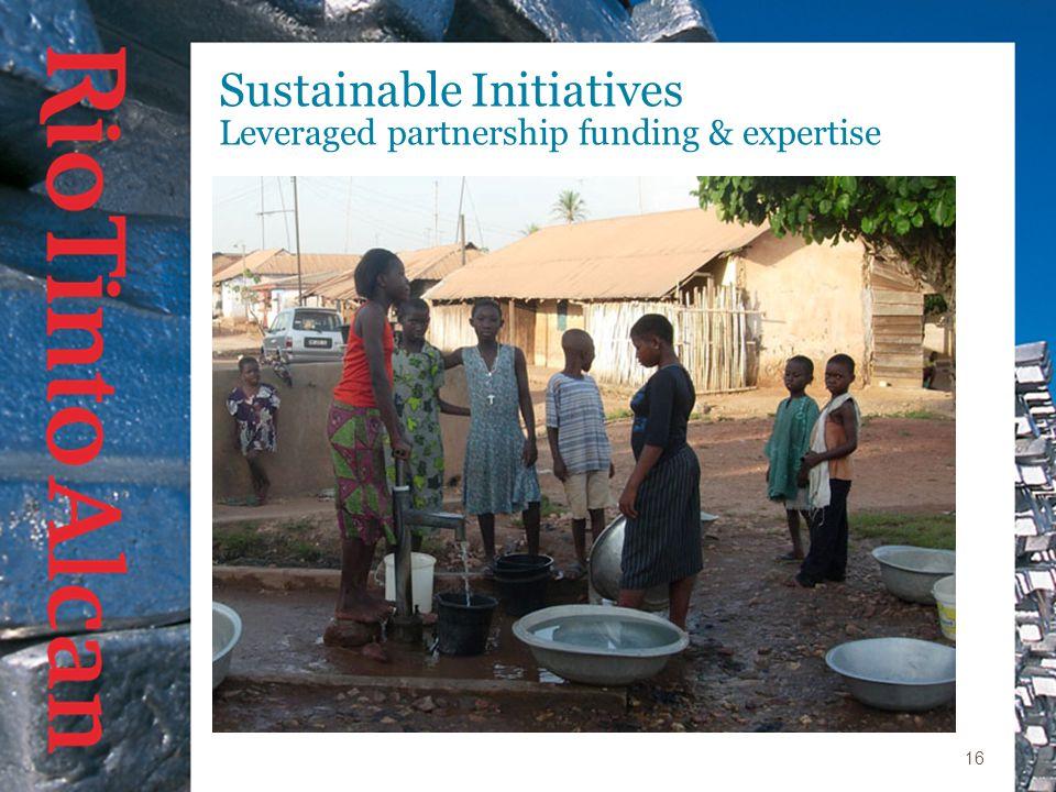 16 Sustainable Initiatives Leveraged partnership funding & expertise