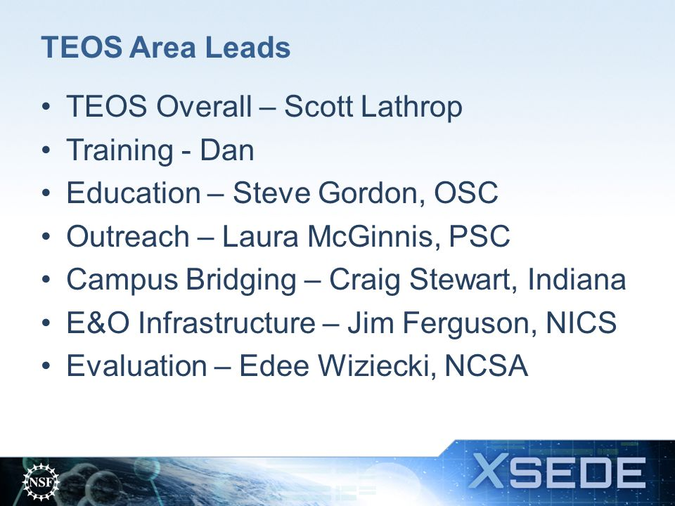 TEOS is an Established Collaborative Team NCSA, NICS, PSC, SDSC, TACC are leaders in TEOS efforts.