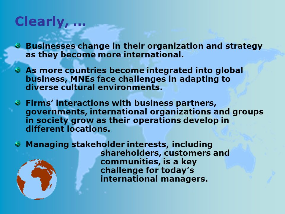 Businesses change in their organization and strategy as they become more international.