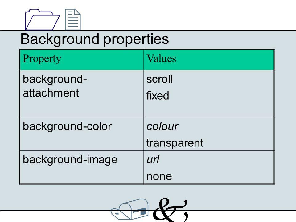 /k/k 1212 List properties PropertyValues list-style-imageurl none list-style-typedisc, circle, square, decimal, lower-roman, upper-roman, lower- alpha, upper-alpha list-style-positioninside, outside