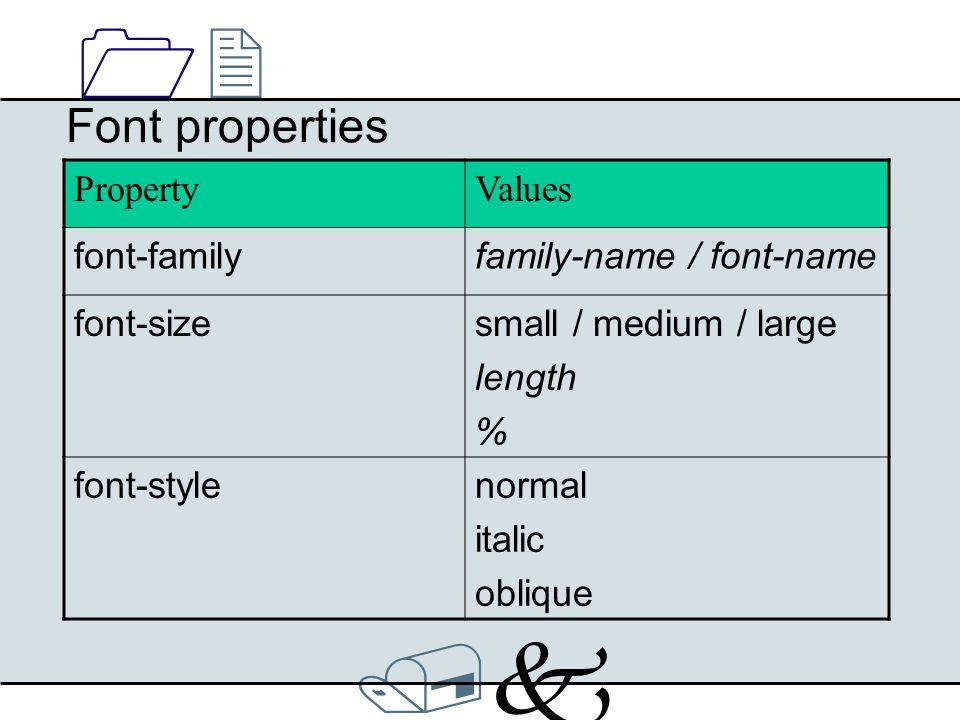 /k/k 1212 Font properties PropertyValues font-weightnormal bold 100, 200, 300, …, 900 font-stretchnormal wider narrower