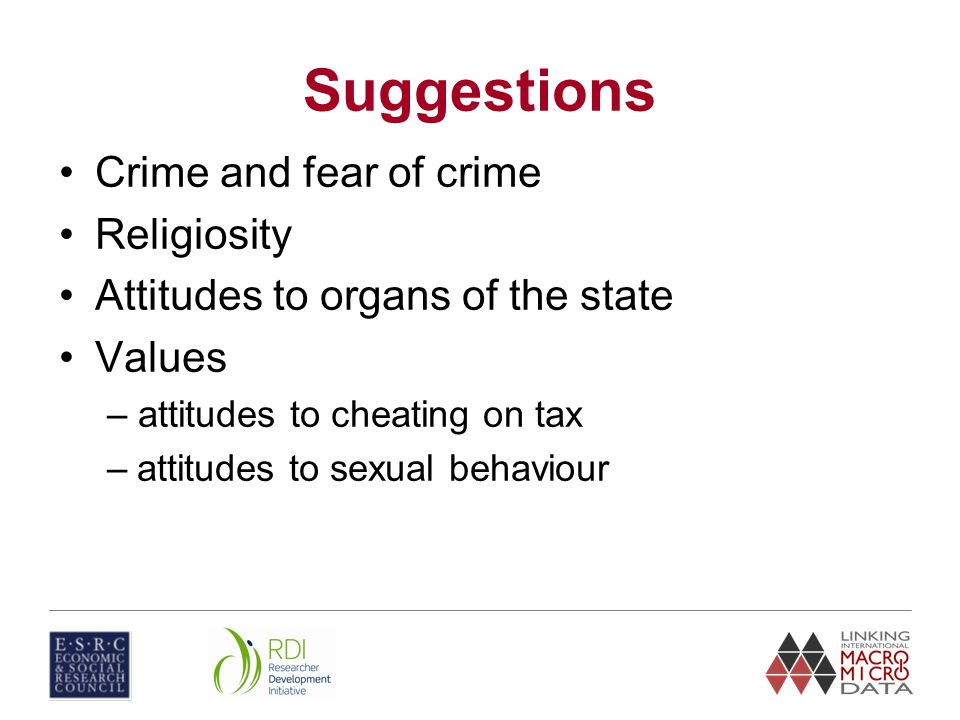 Suggestions Crime and fear of crime Religiosity Attitudes to organs of the state Values – attitudes to cheating on tax –attitudes to sexual behaviour