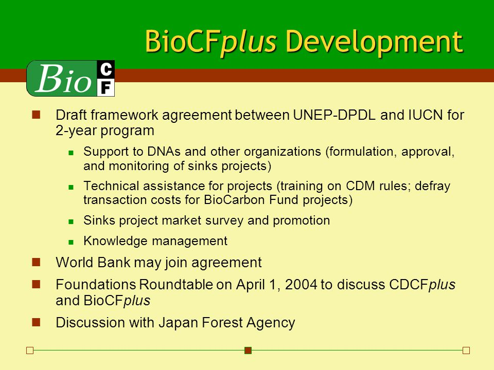 BioCFplus Development Draft framework agreement between UNEP-DPDL and IUCN for 2-year program Support to DNAs and other organizations (formulation, approval, and monitoring of sinks projects) Technical assistance for projects (training on CDM rules; defray transaction costs for BioCarbon Fund projects) Sinks project market survey and promotion Knowledge management World Bank may join agreement Foundations Roundtable on April 1, 2004 to discuss CDCFplus and BioCFplus Discussion with Japan Forest Agency