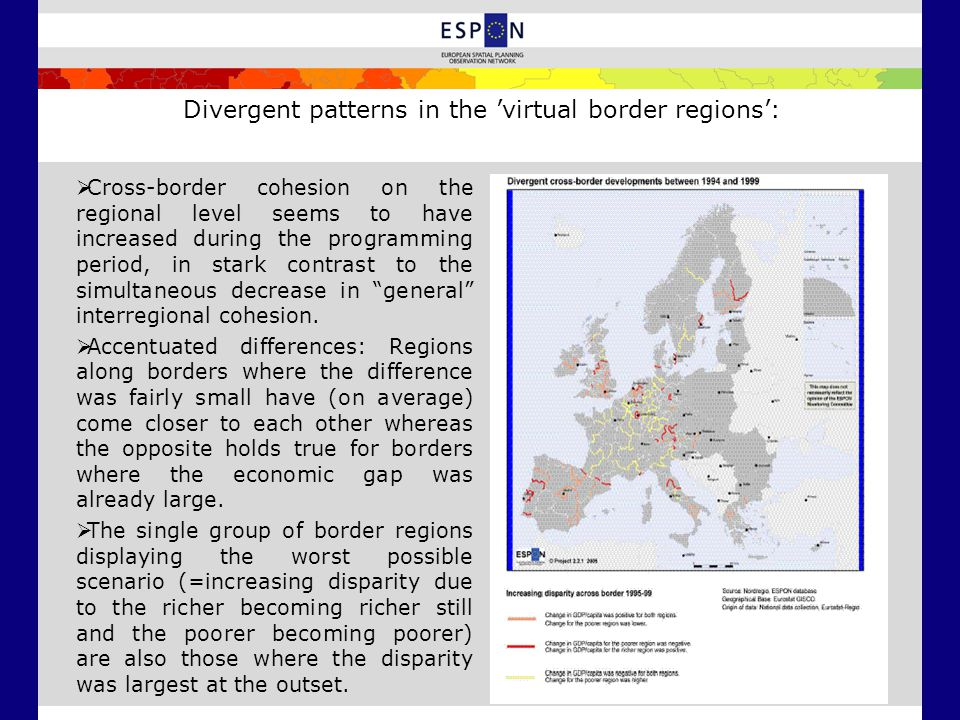 Divergent patterns in the 'virtual border regions':  Cross-border cohesion on the regional level seems to have increased during the programming period, in stark contrast to the simultaneous decrease in general interregional cohesion.