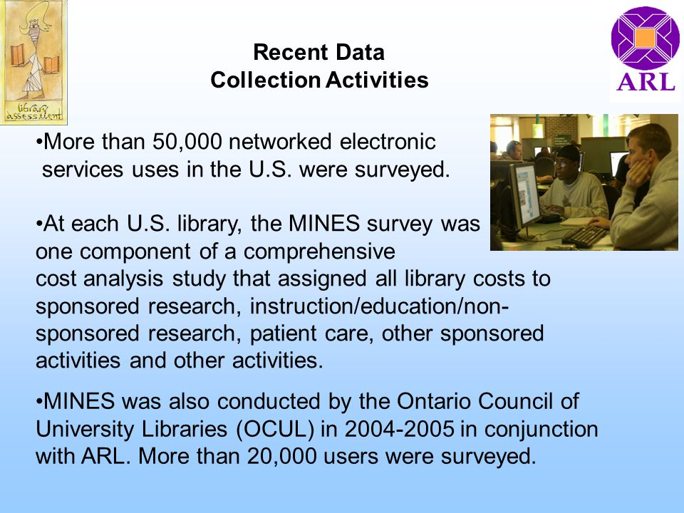 More than 50,000 networked electronic services uses in the U.S. were surveyed. At each U.S. library, the MINES survey was one component of a comprehen