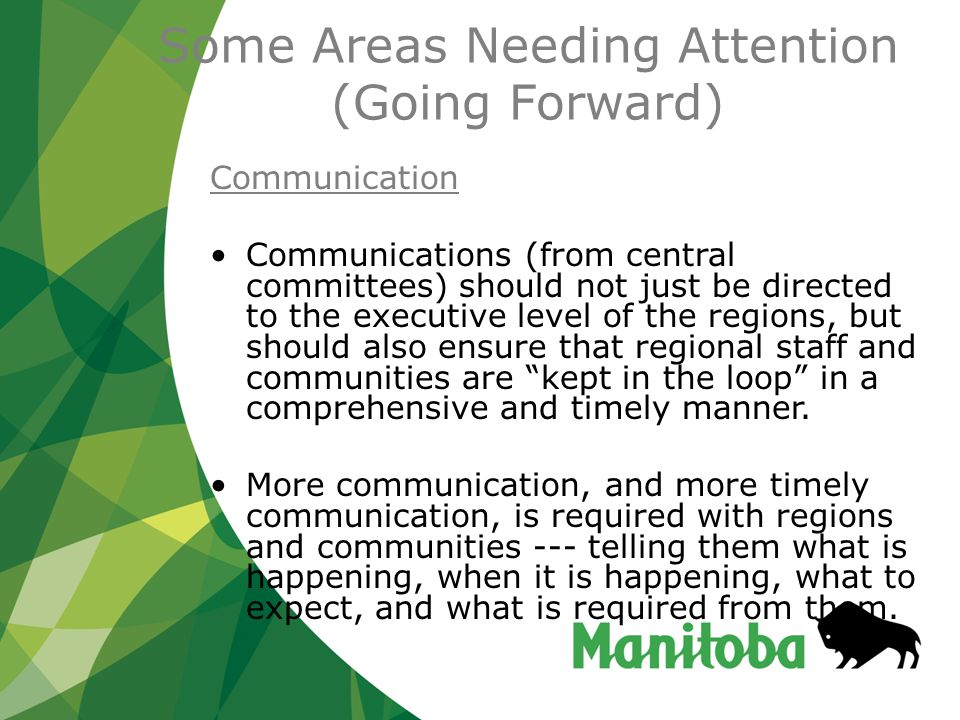 Some Areas Needing Attention (Going Forward) Communication Communications (from central committees) should not just be directed to the executive level of the regions, but should also ensure that regional staff and communities are kept in the loop in a comprehensive and timely manner.