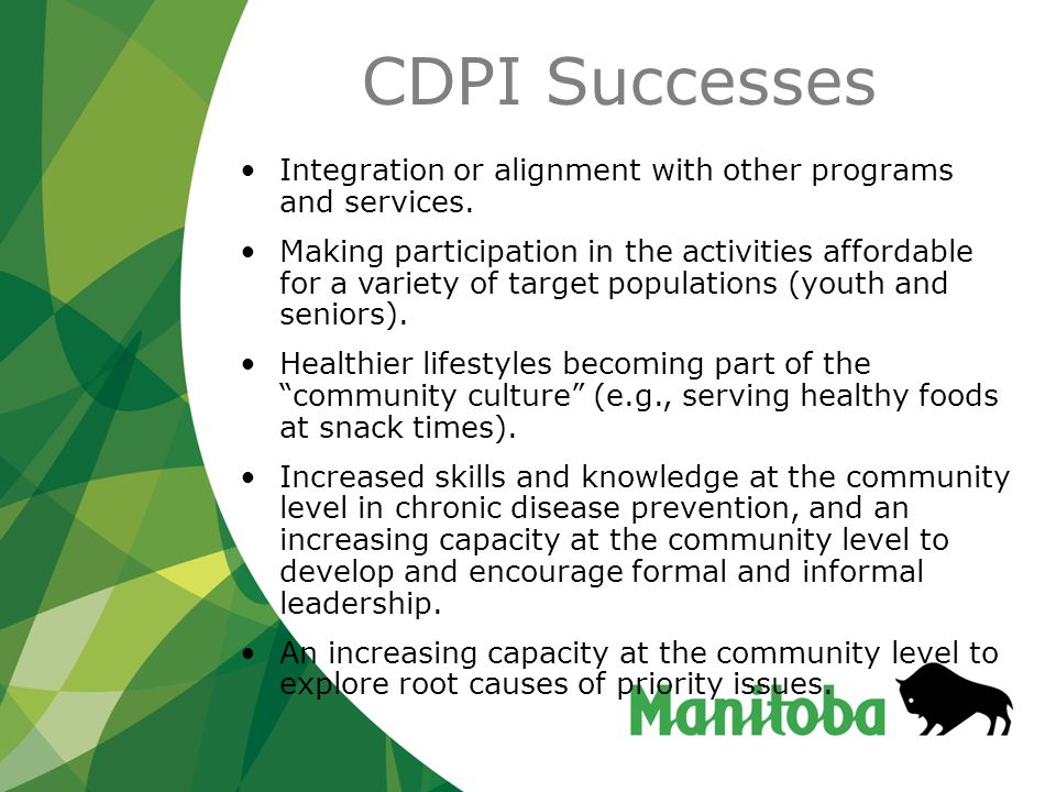 Recommendations for Moving CDP Forward in Manitoba Project Approach Communities, regions, and partner organizations need to be aware of all of the activities taking place within CDP (and of relevance to CDP) in order to develop necessary linkages and partnerships in an effort to avoid duplication and enhance existing initiatives.