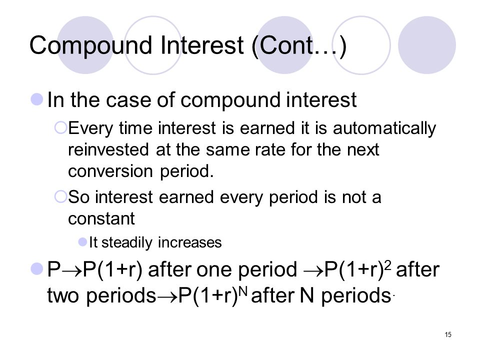 15 Compound Interest (Cont…) In the case of compound interest  Every time interest is earned it is automatically reinvested at the same rate for the next conversion period.