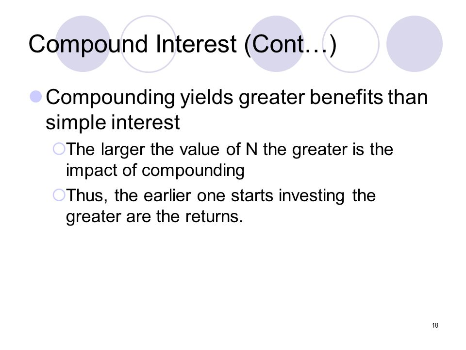 18 Compound Interest (Cont…) Compounding yields greater benefits than simple interest  The larger the value of N the greater is the impact of compounding  Thus, the earlier one starts investing the greater are the returns.