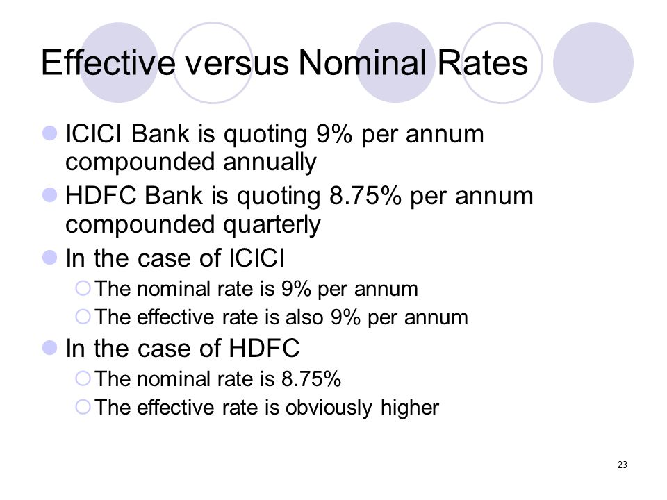23 Effective versus Nominal Rates ICICI Bank is quoting 9% per annum compounded annually HDFC Bank is quoting 8.75% per annum compounded quarterly In the case of ICICI  The nominal rate is 9% per annum  The effective rate is also 9% per annum In the case of HDFC  The nominal rate is 8.75%  The effective rate is obviously higher