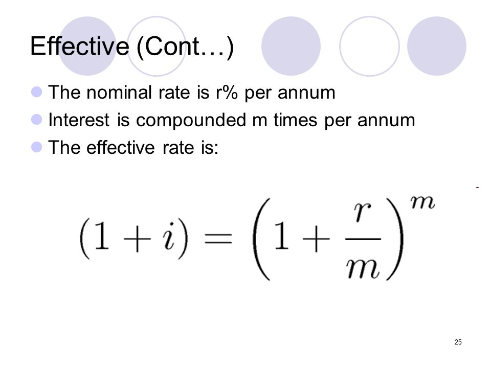 25 Effective (Cont…) The nominal rate is r% per annum Interest is compounded m times per annum The effective rate is:
