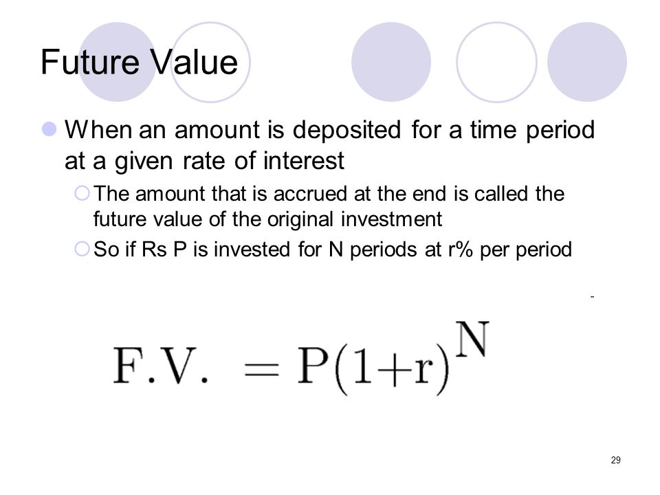 29 Future Value When an amount is deposited for a time period at a given rate of interest  The amount that is accrued at the end is called the future value of the original investment  So if Rs P is invested for N periods at r% per period
