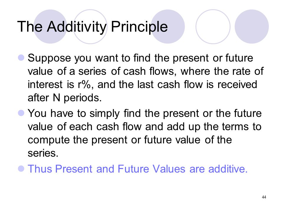 44 The Additivity Principle Suppose you want to find the present or future value of a series of cash flows, where the rate of interest is r%, and the last cash flow is received after N periods.