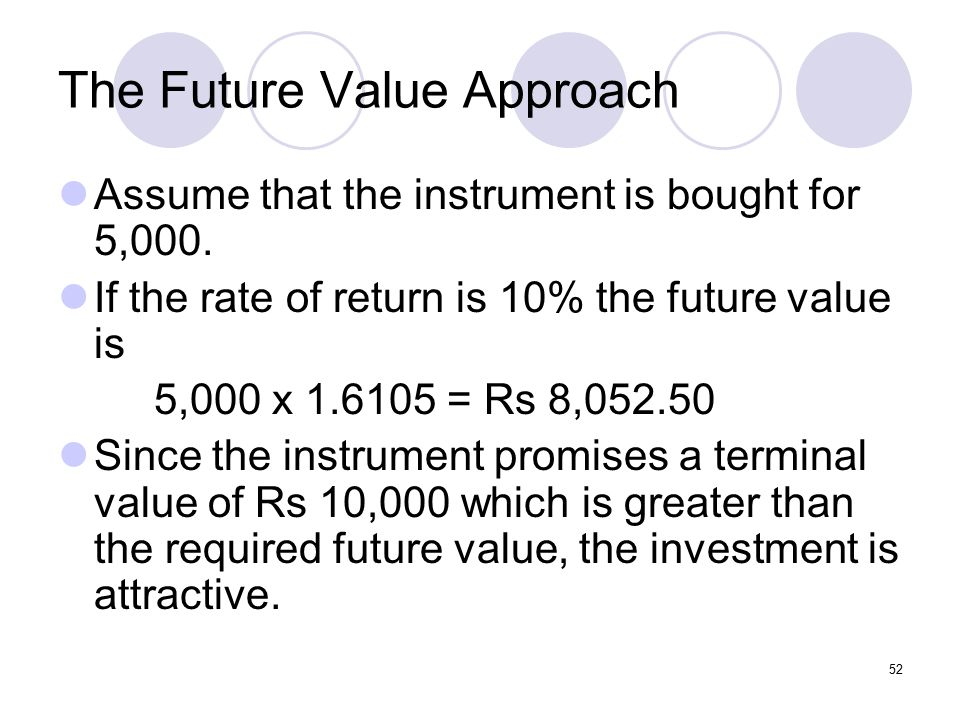 52 The Future Value Approach Assume that the instrument is bought for 5,000.